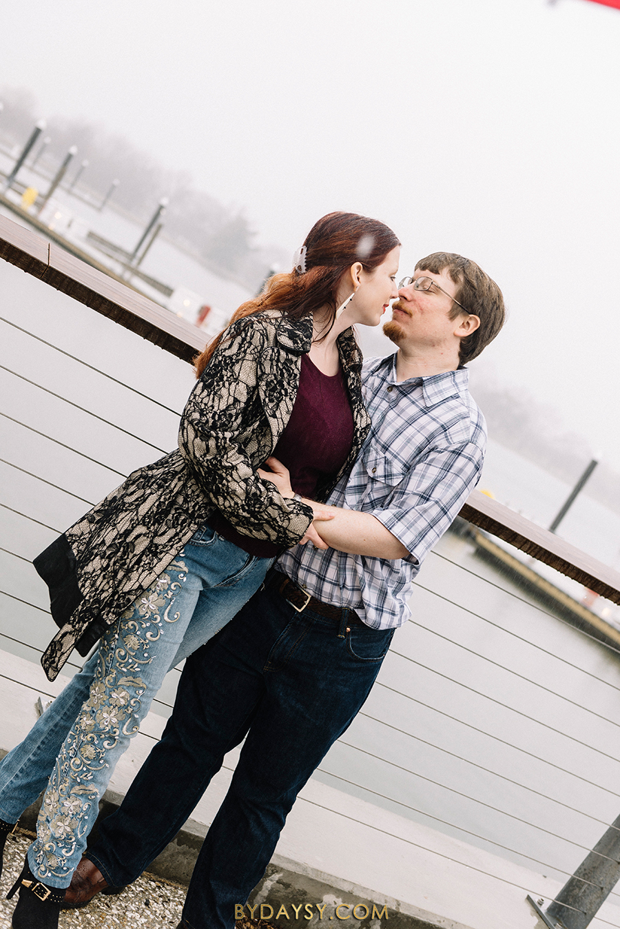 Rainy engagement session washington D.C. Pouring Rain