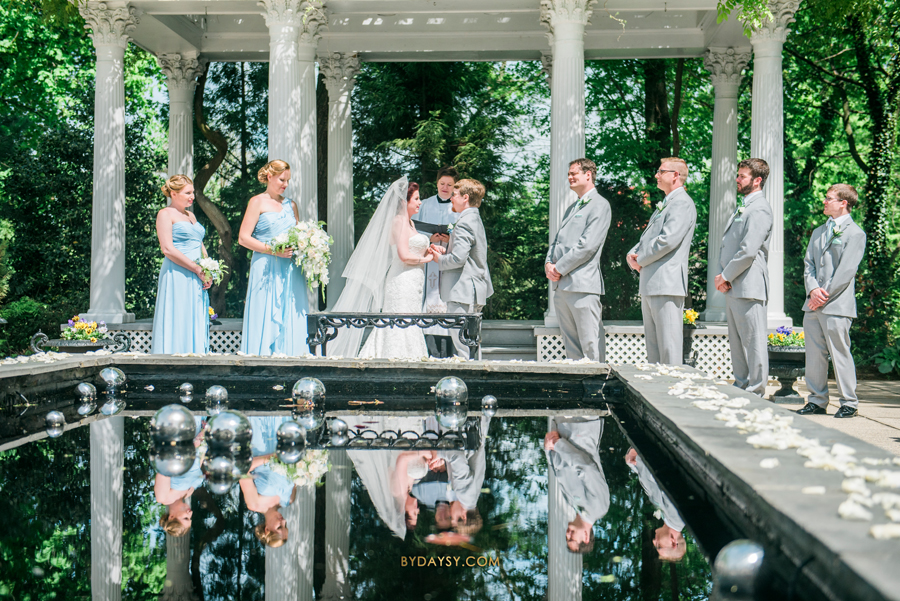 Best Tips on How to Hire Your Wedding Photographer, Ceresville Mansion wedding, Cereseville Mansion, 1955 Buick Roadster, outdoor wedding, Maryland, wedding reflection, wedding fountain, classic wedding, antique wedding venue, outdoor wedding photography, blue and green wedding, Maryland wedding photographer