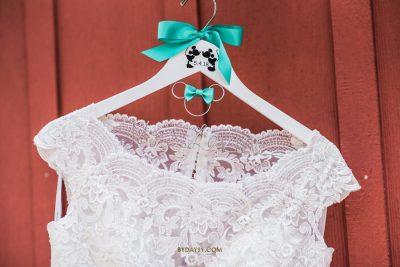 wedding dress on a disney hanger