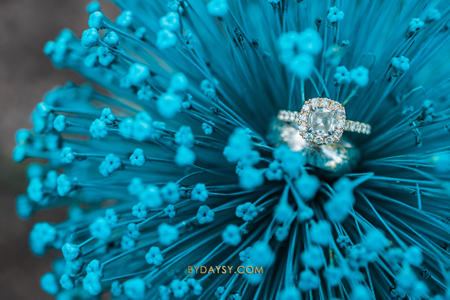 close up engagement ring on a blue flower at green spring gardens alexandria va