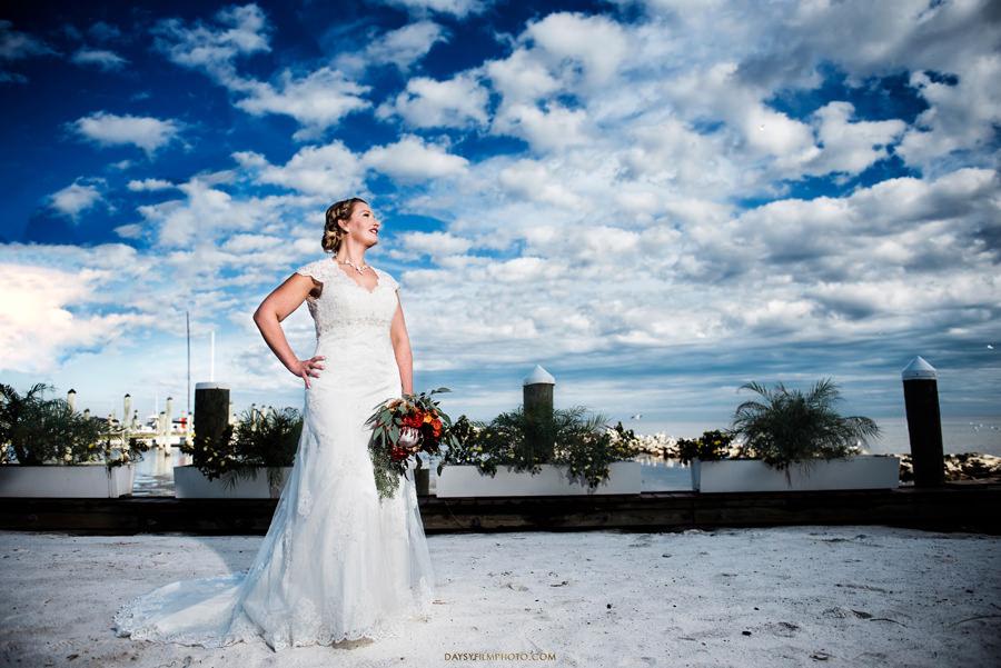 bride looking at the bay