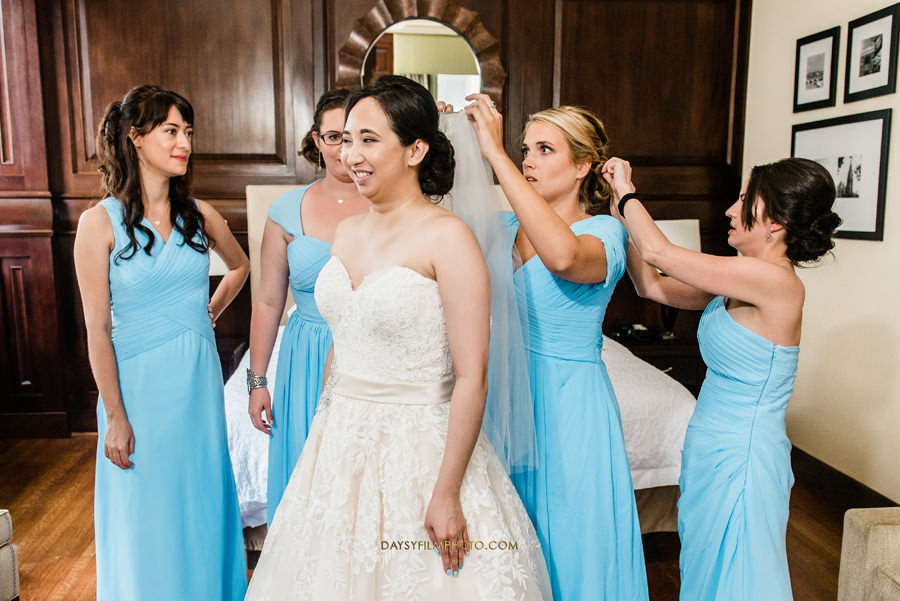 bride and bridesmaids getting ready at The Mansion at the Valley Country Club
