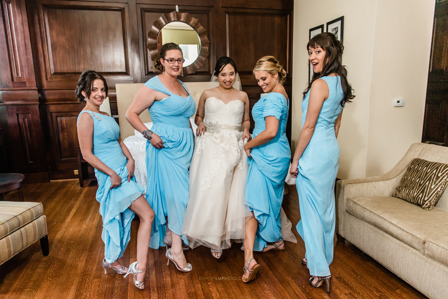 bride and bridesmaids showing shoes before the wedding at The Mansion at the Valley Country Club