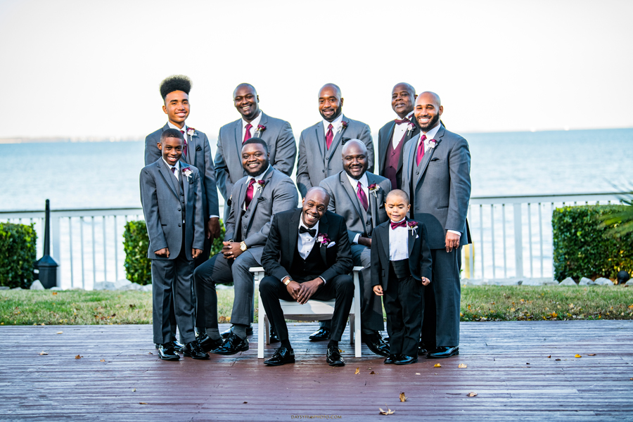 groom and groomsmen together at celebration at the bay baltimore maryland