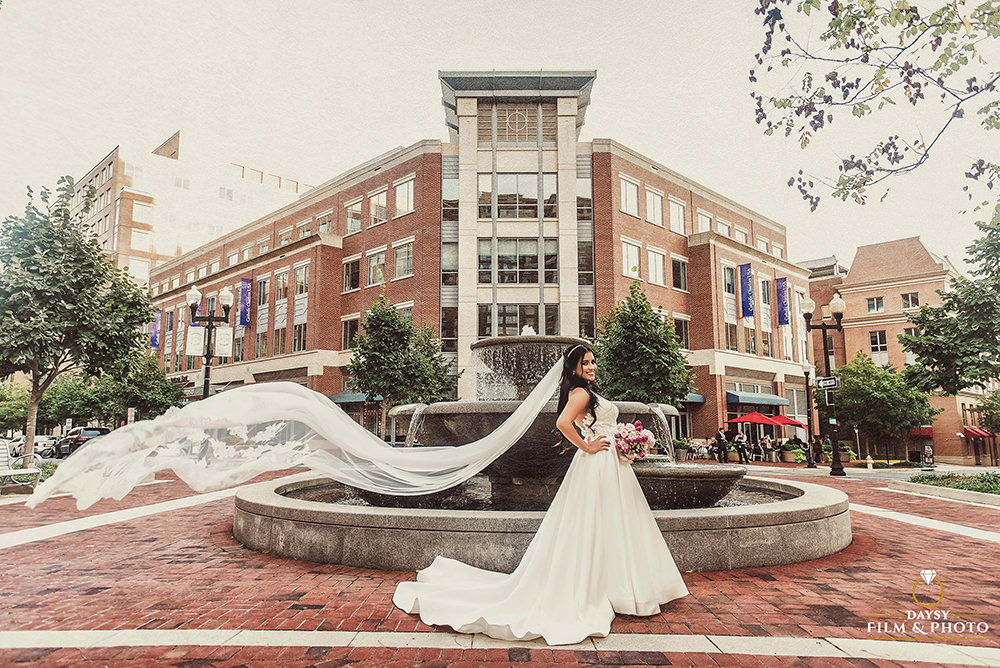 beautiful bride with cathedral veil flowing