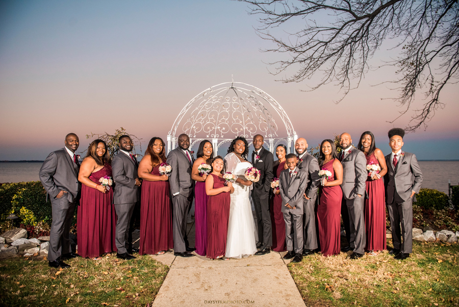 bride, groom, bridesmaids and groomsmen together at celebration at the bay baltimore maryland