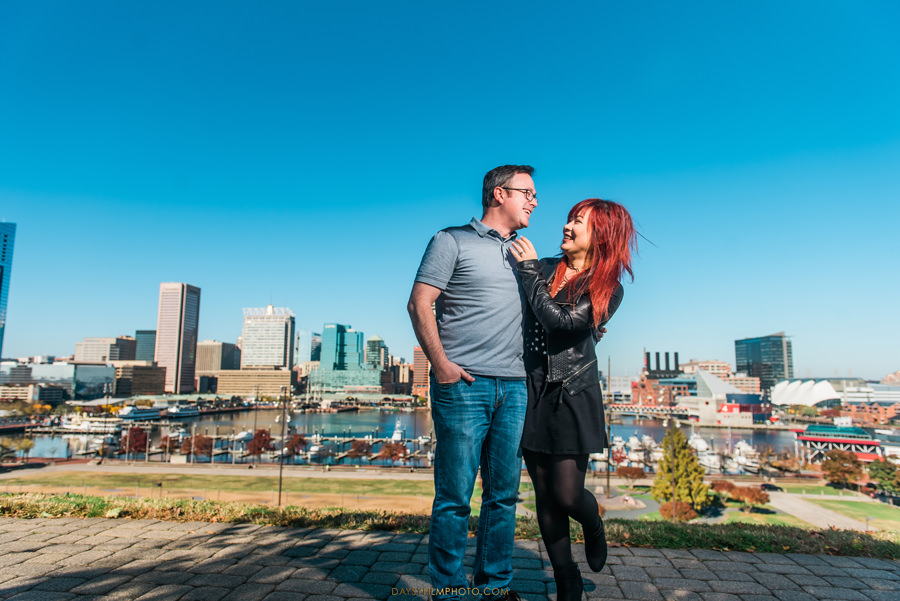 nerd couple playful photos at federal hill baltimore