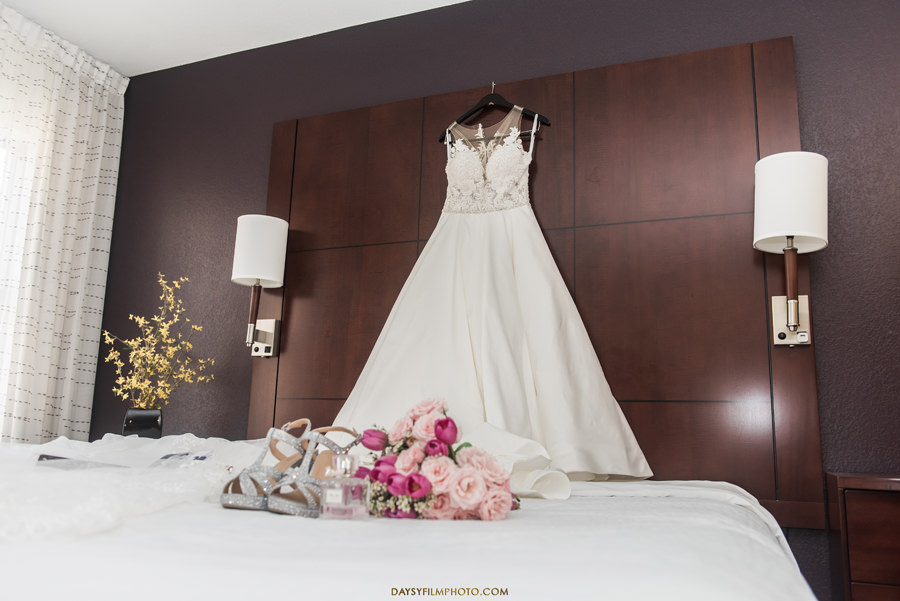 wedding dress in the room before wedding at the carlyle club Alexandria, VA