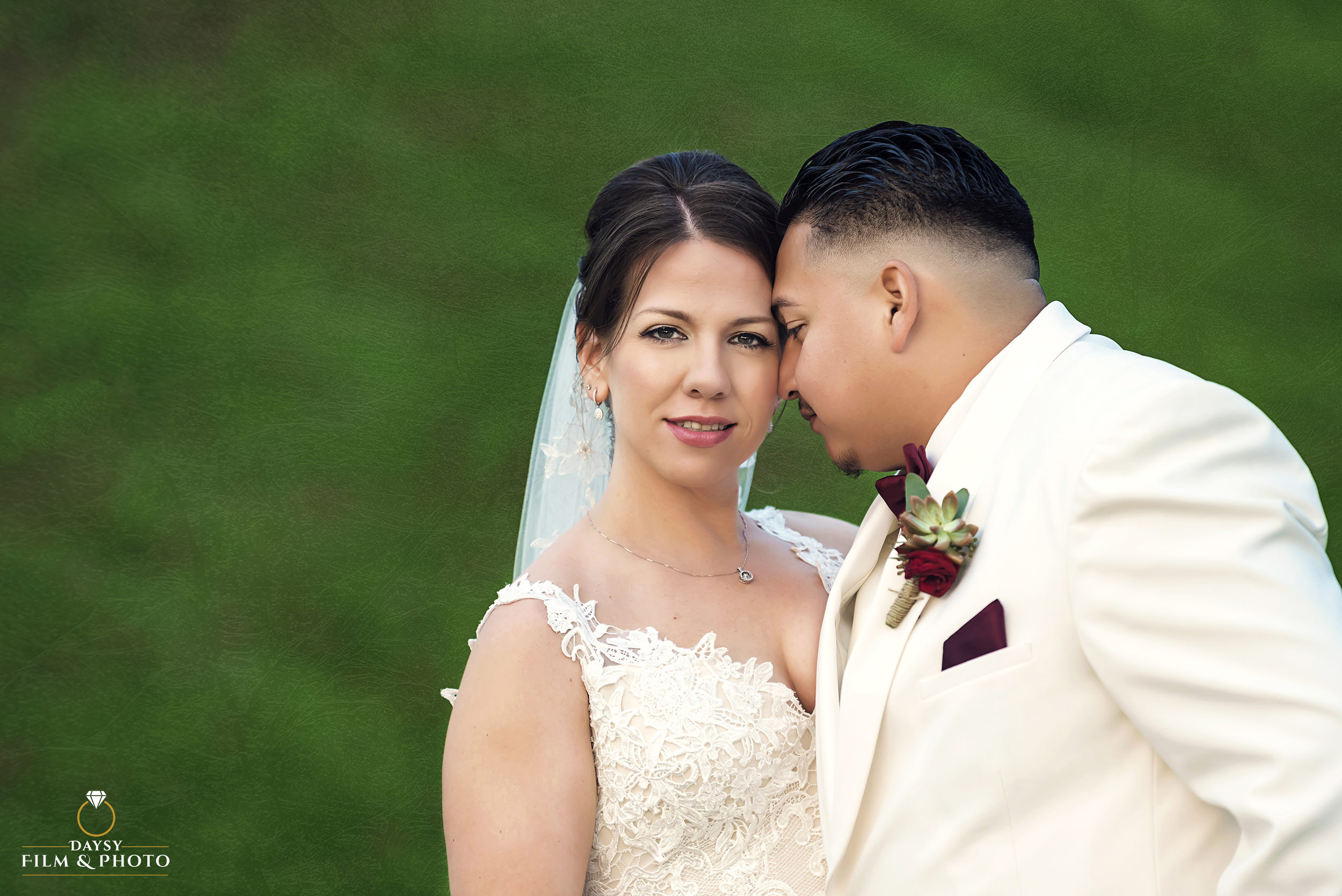 bride and groom wearing white luxury portrait