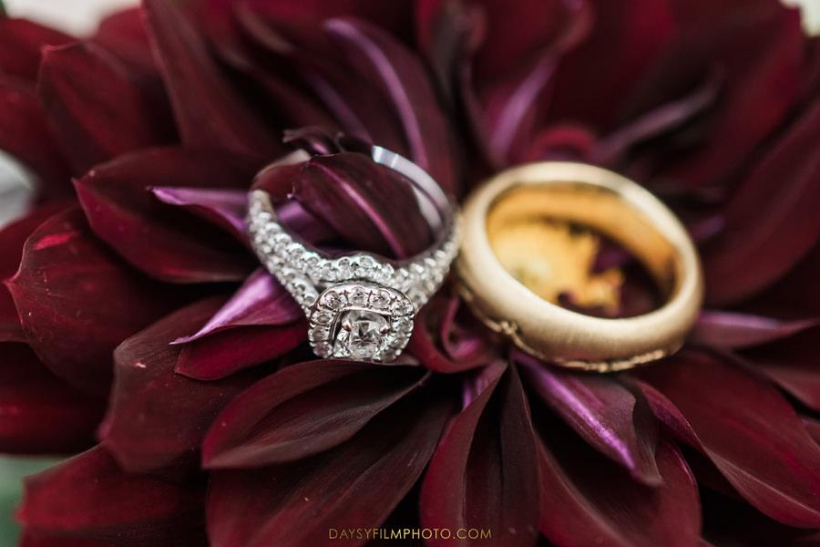 wedding rings bands on flower
