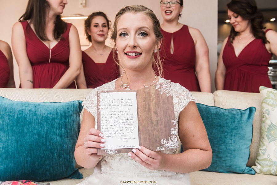 bride reading before wedding Chesapeake Beach Resort and Spa