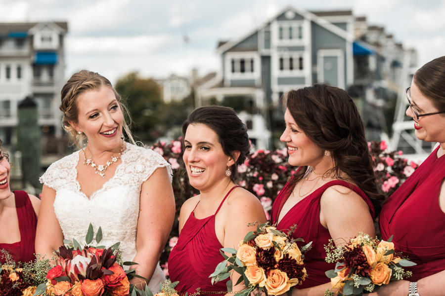 Chesapeake Beach Resort and Spa brides and bridesmaids on red