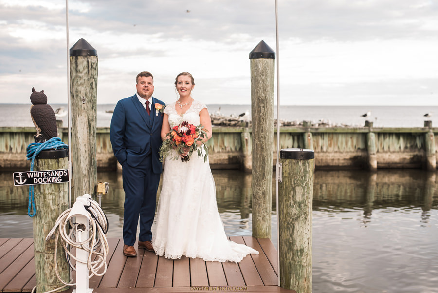 Chesapeake Beach Resort and Spa wedding bride and groom on the pier
