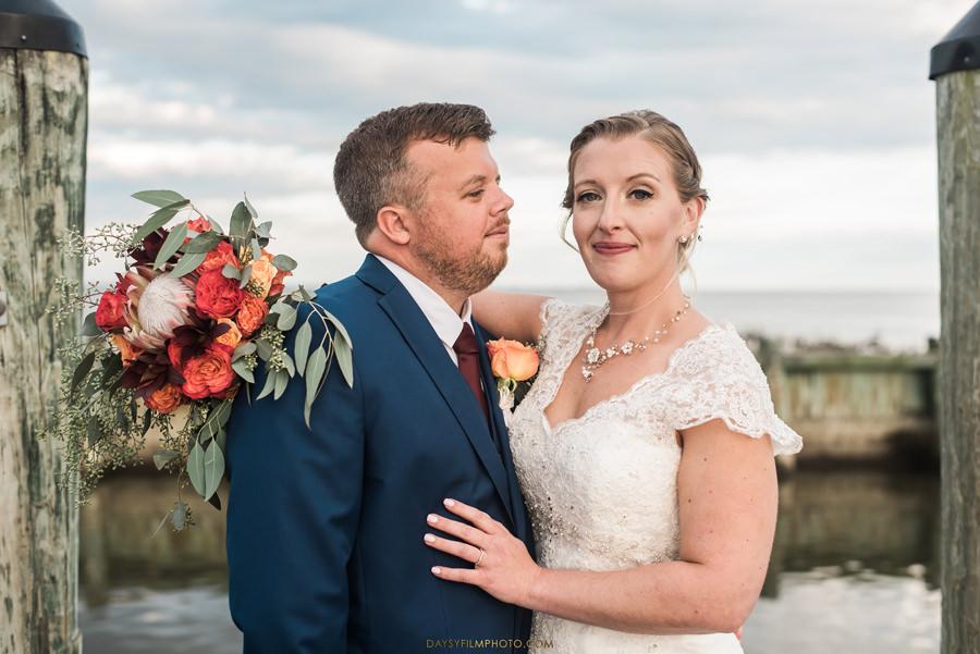 Chesapeake Beach Resort and Spa wedding bride and groom on the pier