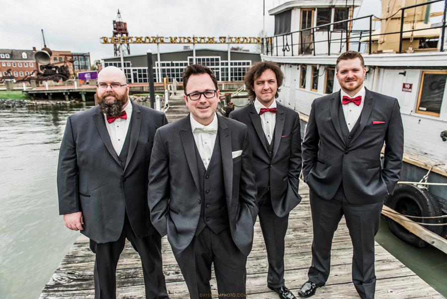 Baltimore Museum of Industry Wedding groom groomsman photos