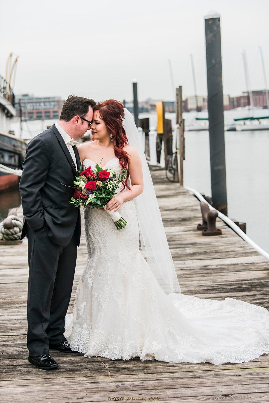 Baltimore Museum of Industry Wedding bride and groom at the dock