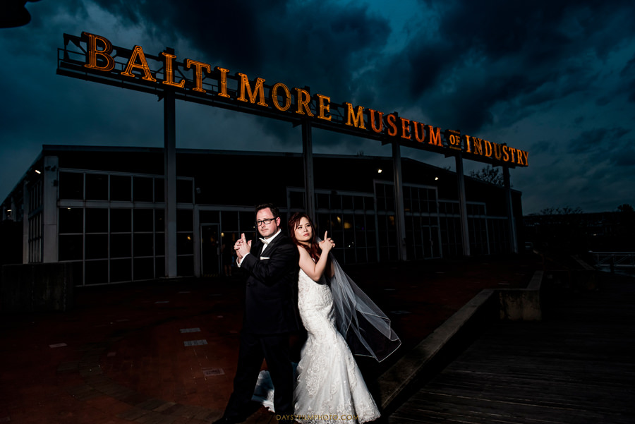 Baltimore Museum of Industry Wedding bride and groom night photos