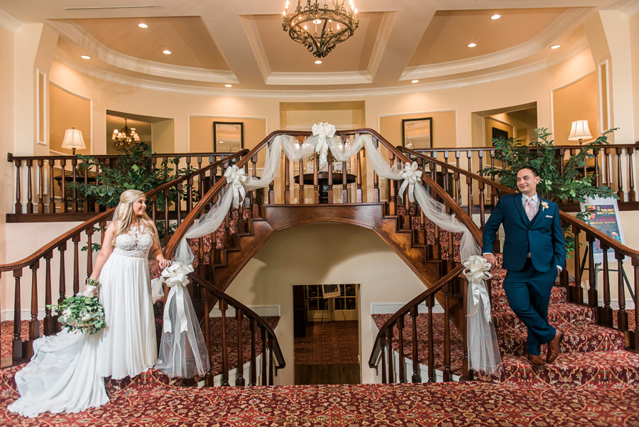 Manor Country Club wedding rockville md stairs bride and groom