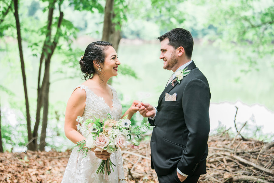 The Woodlands at Algonkian Wedding photos bride groom at river