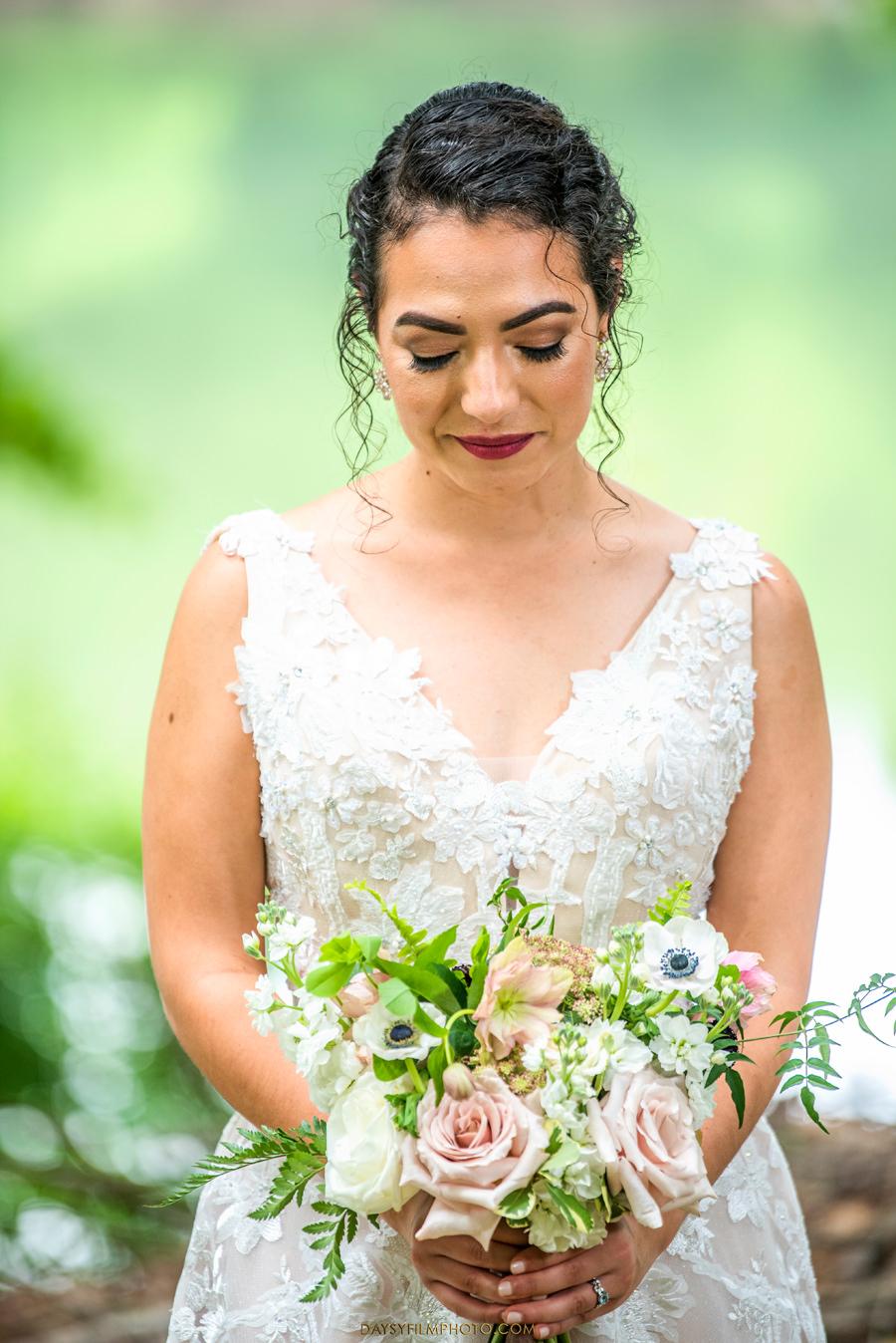 The Woodlands at Algonkian Wedding bride on river