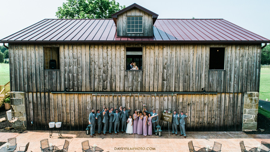 Vineyard of Mary's Meadow bridal party and bride groom drone shot