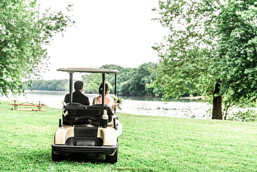 The woodland at algonkian sterling va wedding golf cart