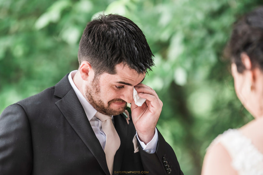 The Woodlands at Algonkian Wedding groom crying ceremony
