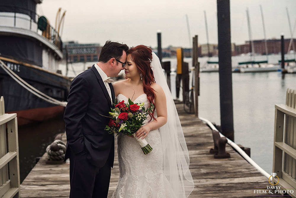baltimore museum of industry wedding photographer bride and groom at the dock