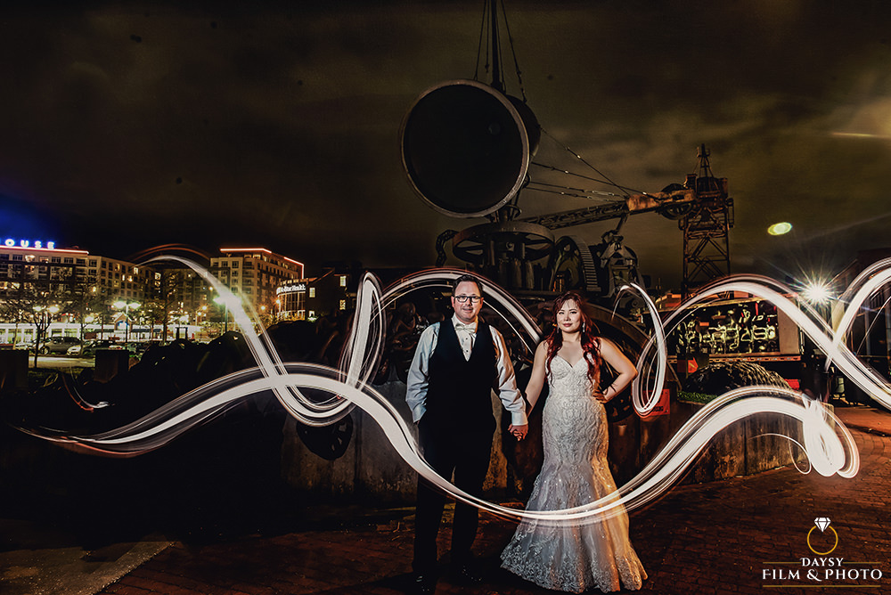 baltimore museum of industry wedding photographer bride and groom night shot