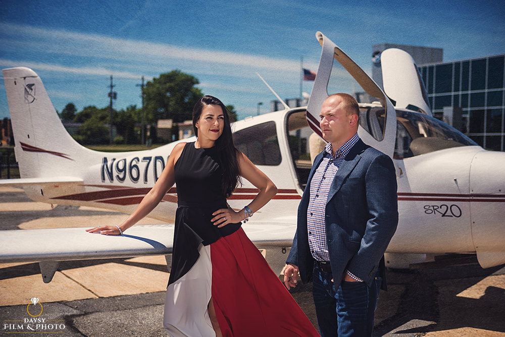 frederick municipal airport engagement photos
