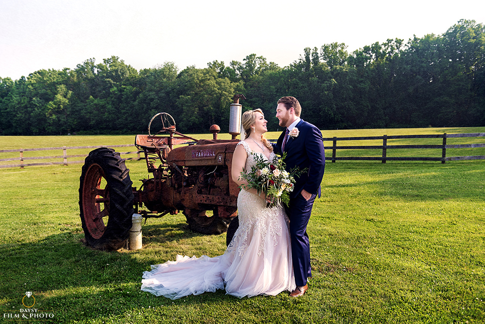 Vineyard of Mary's Meadow wedding tractor picture