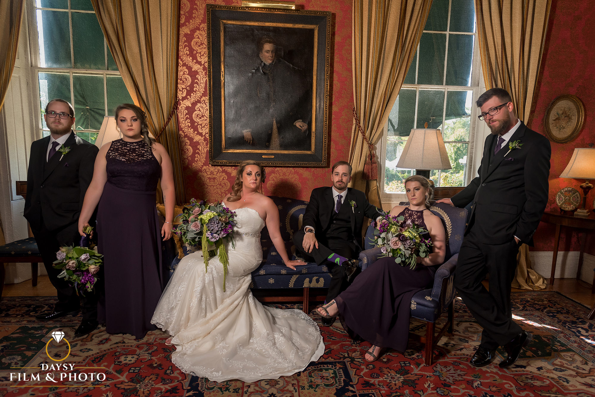 Antrim 1844 Inn wedding party photos inside hotel